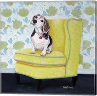 Beagle on Yellow Fine-Art Print