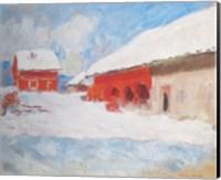 Les maisons rouges a Bjoernegaard, Norvege, 1895 Fine-Art Print