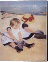 Children Playing On The Beach Fine-Art Print
