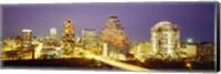 Buildings lit up at dusk, Austin, Texas, USA Fine-Art Print