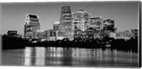USA, Texas, Austin, Panoramic view of a city skyline (Black And White) Fine-Art Print