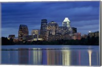 Buildings at the waterfront lit up at dusk, Town Lake, Austin, Texas, USA Fine-Art Print
