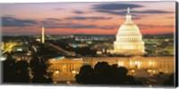 High angle view of a city lit up at dusk, Washington DC, USA Fine-Art Print