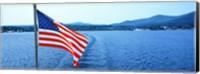 Flag and view from the Minne Ha Ha Steamboat, Lake George, New York State, USA Fine-Art Print