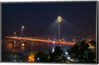 Bridge lit up at night, Ting Kau Bridge, Rambler Channel, New Territories, Hong Kong Fine-Art Print