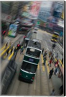 Trams on a road, Hennessy Road, Wan Chai, Wan Chai District, Hong Kong Fine-Art Print