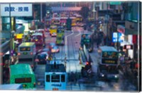 Traffic on a street at night, Des Voeux Road Central, Central District, Hong Kong Island, Hong Kong Fine-Art Print