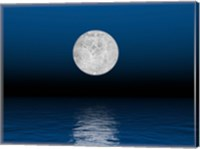Beautiful full moon against a deep blue sky over the ocean Fine-Art Print