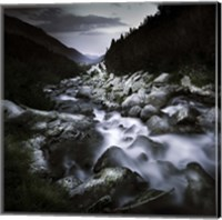 Small river flowing over large stones in the mountains of Pirin National Park, Bulgaria Fine-Art Print