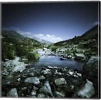 Small river flowing through big stones in Pirin National Park, Bulgaria Fine-Art Print