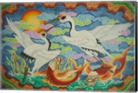 Taiwan, Peimen, Nankunshen Temple, Ceiling mural of cranes and catfish Fine-Art Print