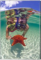Snorkeling in the Blue Waters of the Bahamas Fine-Art Print