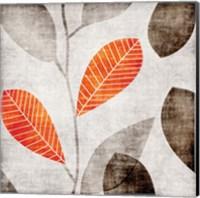 Gray Orange Leaves 2 Fine-Art Print