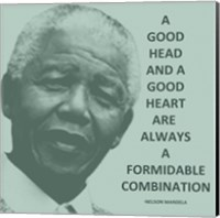 A Good Head and A Good Heart - Nelson Mandela Quote Fine-Art Print