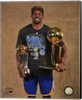 Andre Iguodala with the MVP & NBA Championship Trophies Game 6 of the 2015 NBA Finals Fine-Art Print