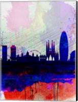Barcelona Watercolor Skyline 2 Fine-Art Print