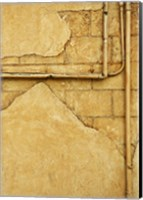 Gold Cement Wall with Exposed Brick Fine-Art Print
