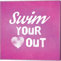 Swim Your Heart Out - Pink Vintage Fine-Art Print