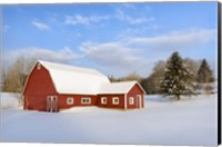 Red Barn In Snow Fine-Art Print