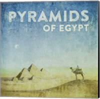 Vintage Pyramids of Giza with Camels, Egypt, Africa Fine-Art Print