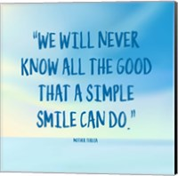 Simple Smile - Mother Teresa Quote (Blue) Fine-Art Print