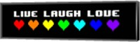 Live Laugh Love -  Black Panoramic with Pixel Hearts Fine-Art Print