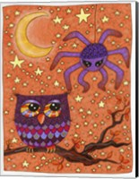 Halloween Owl And Spider Fine-Art Print