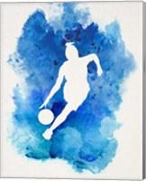 Basketball Girl Watercolor Silhouette Inverted Part II Fine-Art Print