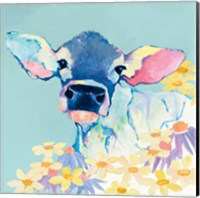 Bessie with Flowers on Teal Fine-Art Print