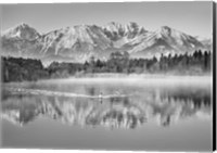 Allgaeu Alps and Hopfensee lake, Bavaria, Germany (BW) Fine-Art Print