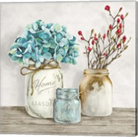 Floral Composition with Mason Jars I Fine-Art Print