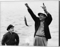 1950s 1960s Boy Fishing With Father Or Grandfather Fine-Art Print