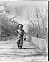 1940s Boy Walking Down Country Road Fine-Art Print