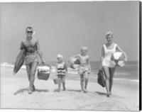 1950s Family Of Four Walking Towards Camera Fine-Art Print