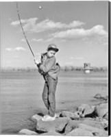 1980s Boy Fishing On Riverbank Fine-Art Print