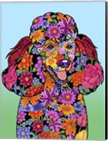 Flowers Poodle Black Fine-Art Print