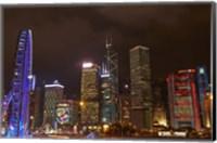 Skyscrapers and Hong Kong Observation Wheel, Hong Kong, China Fine-Art Print
