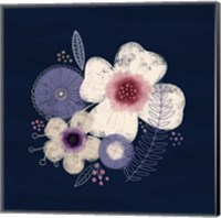 Cream Florals on Navy II Fine-Art Print