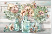 Blush Poppies and Eucalyptus in bottles landscape Fine-Art Print