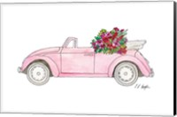 Pink Car with Tropical Flowers Fine-Art Print