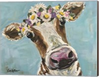 Cow Miss Moo Moo Turquoise Flower Crown Fine-Art Print