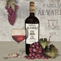 Uncork Wine and Grapes I Fine-Art Print