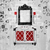 Red Antique Mirrored Bath Square I Fine-Art Print