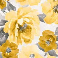 Yellow and Gray Floral Delicate II Fine-Art Print