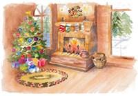 Santa's Fireplace and Tree Scene Fine-Art Print