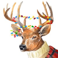 Christmas Lights Reindeer Sweater Fine-Art Print