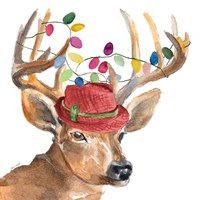 Christmas Light Reindeer Hat Fine-Art Print