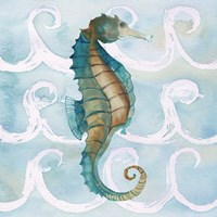 Sea Creatures on Waves II Fine-Art Print