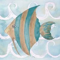 Sea Creatures on Waves IV Fine-Art Print