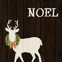 Wooden Deer with Wreath I Fine-Art Print